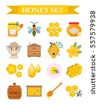 honey icon set  flat  cartoon... | Shutterstock .eps vector #557579938