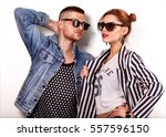 beautiful fashion couple with... | Shutterstock . vector #557596150