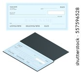 bank check with modern design.... | Shutterstock .eps vector #557596528