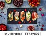 mini sandwiches food set.... | Shutterstock . vector #557598094