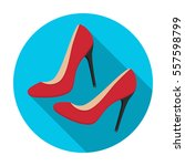 shoes with stiletto heel icon... | Shutterstock .eps vector #557598799