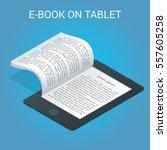 isometric e book concept.... | Shutterstock .eps vector #557605258