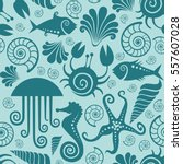 seamless pattern with sea fauna.... | Shutterstock . vector #557607028