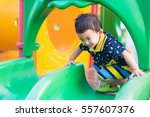 Little Asian Kid Playing Slide...