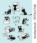 Cats Life Comic Doodle...