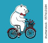 the bear on the bicycle with... | Shutterstock .eps vector #557613184