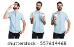 handsome man with blue glasses...   Shutterstock . vector #557614468