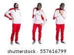 crazy superhero man with... | Shutterstock . vector #557616799