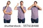 handsome man doing surprise... | Shutterstock . vector #557618488