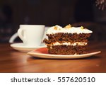 Carrot Cake With Coffee On A...