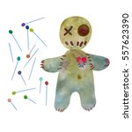 voodoo doll with set of pins... | Shutterstock .eps vector #557623390