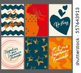 set of 6 greeting cards and... | Shutterstock .eps vector #557643913