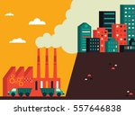 a factory surrounded by trucks... | Shutterstock .eps vector #557646838