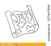 old map. editable line icon.... | Shutterstock .eps vector #557647834