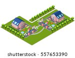 vector isometric country house... | Shutterstock .eps vector #557653390