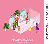 beauty salon for woman and man... | Shutterstock .eps vector #557653480
