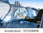 businessman touching virtual... | Shutterstock . vector #557658898
