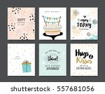 set of birthday greeting cards | Shutterstock .eps vector #557681056