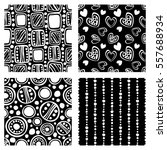 set of seamless vector pattern. ... | Shutterstock .eps vector #557688934