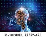 virtual human 3dillustration on ... | Shutterstock . vector #557691634