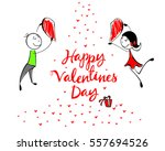 happy valentines day lettering... | Shutterstock .eps vector #557694526