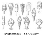 Stock vector ice cream icons of frozen creamy desserts gelato ice cream wafer cone caramel eskimo or 557713894