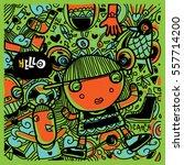 vector hand drawn of doodle... | Shutterstock .eps vector #557714200