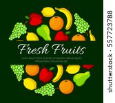 fruits poster of pear  juicy... | Shutterstock .eps vector #557723788