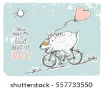 free hand drawing of bear in... | Shutterstock .eps vector #557733550
