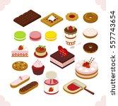 isometric food sweet dessert ... | Shutterstock .eps vector #557743654