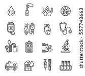blood donation icons vector set ...   Shutterstock .eps vector #557743663