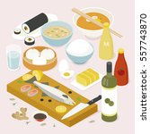isometric food asia table... | Shutterstock .eps vector #557743870