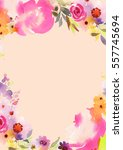 greeting card with watercolor... | Shutterstock . vector #557745694