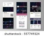 roll up banner stands  flat... | Shutterstock .eps vector #557749324