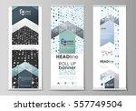 roll up banner stands  flat... | Shutterstock .eps vector #557749504