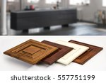 Stock photo modern style of wood kitchen cabinet doors background blurry living room 557751199