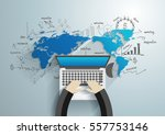 world map with creative... | Shutterstock .eps vector #557753146