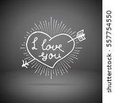 hand written i love you phrase. ... | Shutterstock .eps vector #557754550
