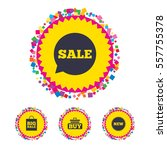 web buttons with confetti... | Shutterstock .eps vector #557755378