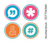 quote  asterisk footnote icons. ... | Shutterstock .eps vector #557756584