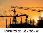 tower cranes and building...   Shutterstock . vector #557756950