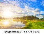 evening landscape. blue sky ... | Shutterstock . vector #557757478