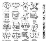 business management icons in... | Shutterstock .eps vector #557757868