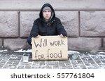 despair of poverty. young ... | Shutterstock . vector #557761804
