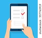 online survey  checklist. hand... | Shutterstock .eps vector #557763919