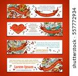 set of horizontal valentine's... | Shutterstock .eps vector #557772934
