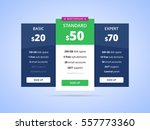 pricing table with three plans  ... | Shutterstock .eps vector #557773360