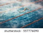 morning fog at swimming pool ...   Shutterstock . vector #557776090