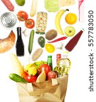 many products in paper bag | Shutterstock . vector #557783050