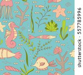 under the sea seamless pattern... | Shutterstock .eps vector #557785996